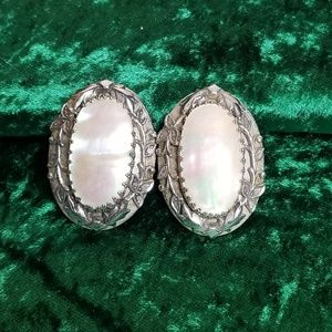 Vintage Silver and Opal Clip-On Earrings
